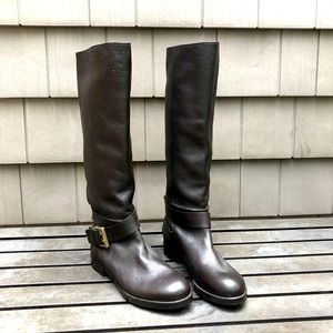 New Chloe Brown Leather Buckled Boots